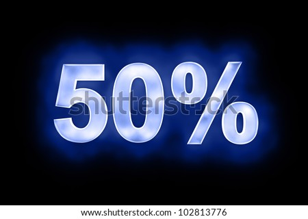 3d illustration of 50 percent in glowing mottled white numerals on a blue background with a black surround - stock photo