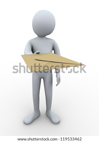 3d Illustration of person deliver envelope. 3d rendering of human character. - stock photo