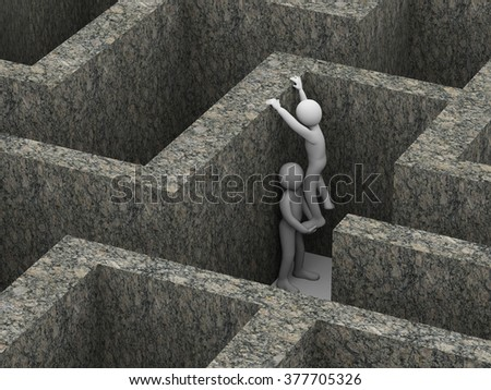 3d illustration of person giving help to his friend in puzzle maze labyrinth. 3d rendering of human people character. - stock photo