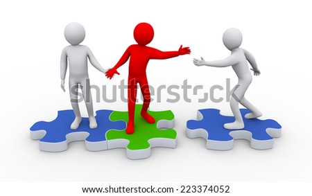 3d illustration of person on puzzle piece joining group of people. 3d rendering of people human character. - stock photo