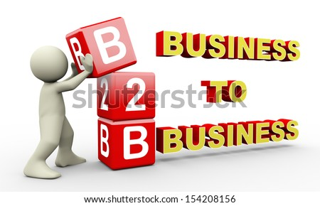 3d illustration of person placing b2b - business to business cubes.  3d rendering of people - human character.