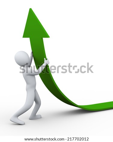 3d illustration of person pushing green arrow upward .  3d rendering of human people character. - stock photo