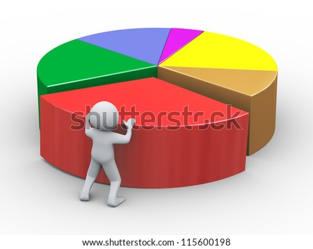 3d Illustration of person pushing piece of pie chart. 3d rendering of human character.