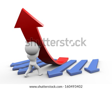 3d illustration of person pushing up one red large arrow. 3d rendering of people - human character.