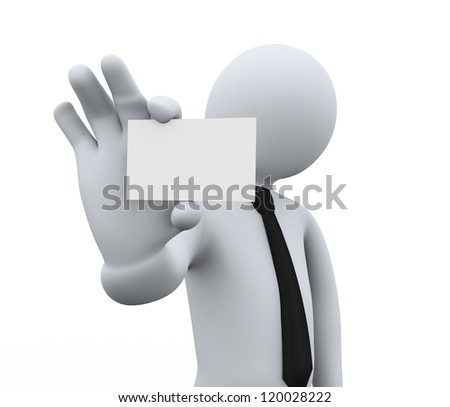 3d illustration of person showing blank small business card. 3d rendering of people -human character. - stock photo