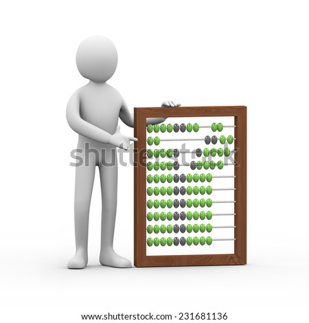 3d illustration of person standing with wooden abacus. 3d rendering of human people character - stock photo