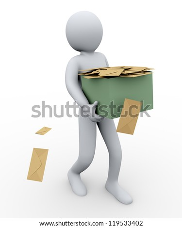 3d illustration of person taking box full of envelopes. 3d rendering of human character - stock photo