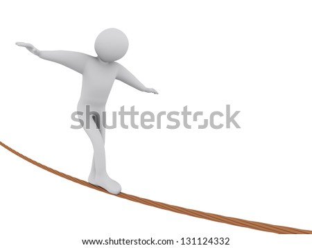 3d illustration of person walking on rope.  3d rendering of people - human character. - stock photo