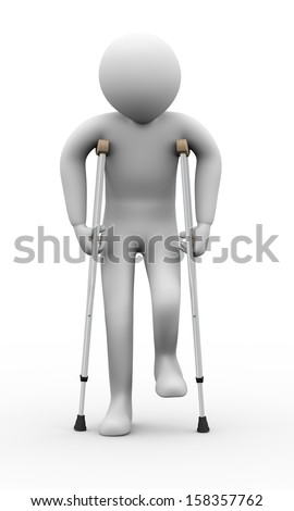 3d illustration of person walkingn with crutches.  3d rendering of human people character