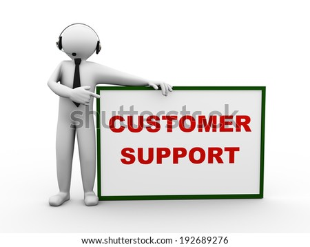 3d illustration of person with headset standing with customer support board. 3d human person character and white people.  - stock photo