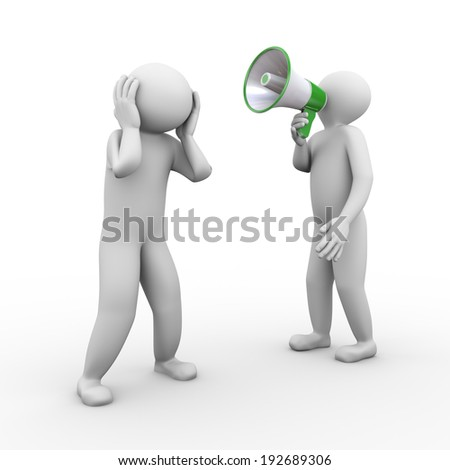 3d illustration of person yelling through megaphone to another guy. 3d human person character and white people.  - stock photo