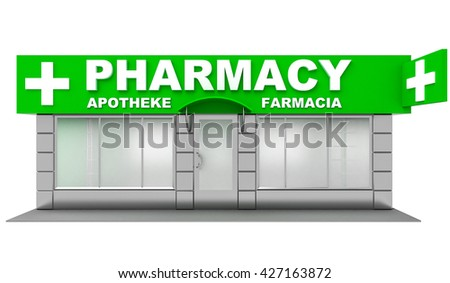 3D Illustration of pharmacy store isolated on white - stock photo