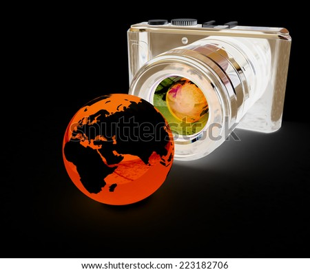 3d illustration of photographic camera and Earth on black background - stock photo