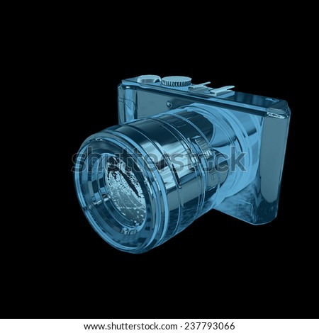 3d illustration of photographic camera on black background - stock photo