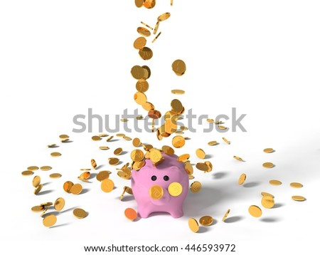 3d illustration of pig money box under falling coins. isolated on white - stock photo
