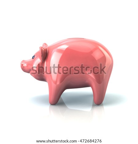 3d illustration of pink piggy bank isolated on white background