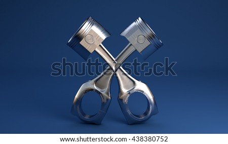 3D illustration of pistons for automobile engine on blue background