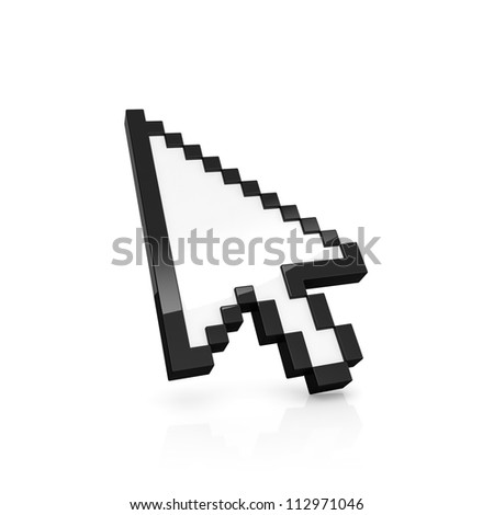 3D illustration of pixelated arrow pointer isolated on white - stock photo