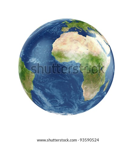 3d illustration of planet Earth with some clouds - stock photo