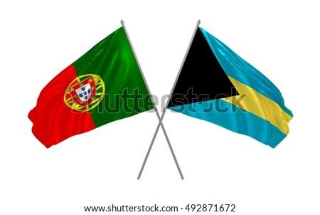 3d illustration of Portugal and Bahamas flags waving