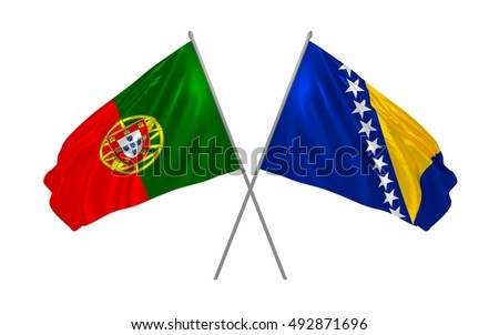 3d illustration of Portugal and Bosnia and Herzegovina flags waving