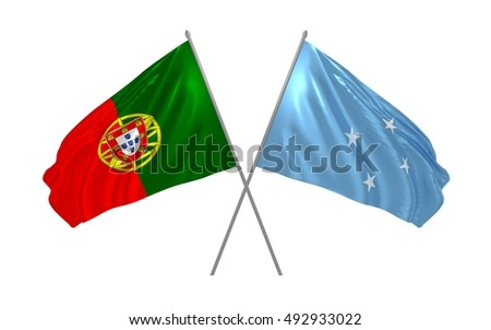 3d illustration of Portugal and Micronesia flags waving