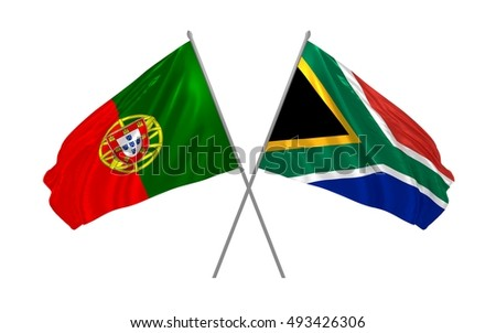 3d illustration of Portugal and South Africa flags waving