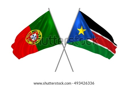 3d illustration of Portugal and South Sudan flags waving