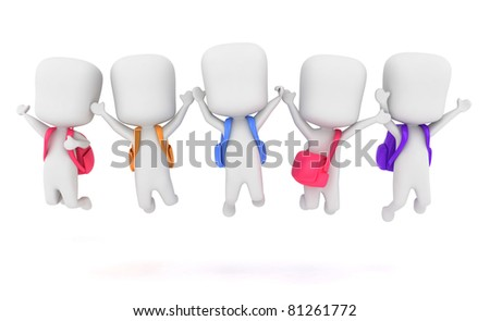 3D Illustration of Preschool Kids Jumping at the Same Time - stock photo