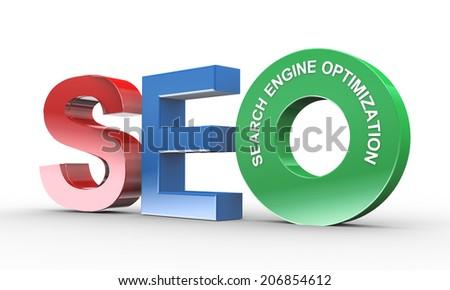 3d illustration of presentation of seo - search engine optimization - stock photo