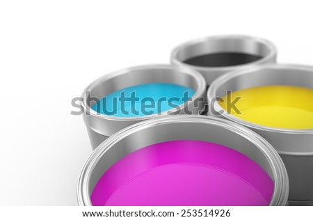 3d illustration of printing color cmyk cyan, magenta, yellow, and key(black) paint bucket cans - stock photo