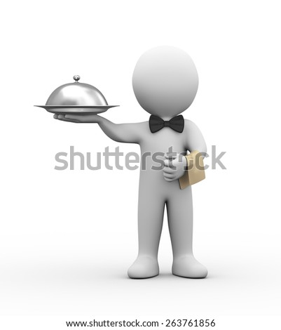 3d illustration of professional waiter holding covered dish.  3d rendering of human people character - stock photo