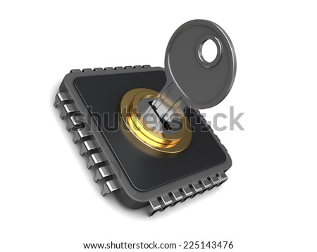 3d illustration of protected or encoded chip with key - stock photo