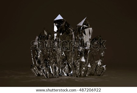 3D illustration of Quartz crystals growing on brown backgrownd