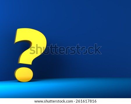 3d illustration of question mark over blue background - stock photo