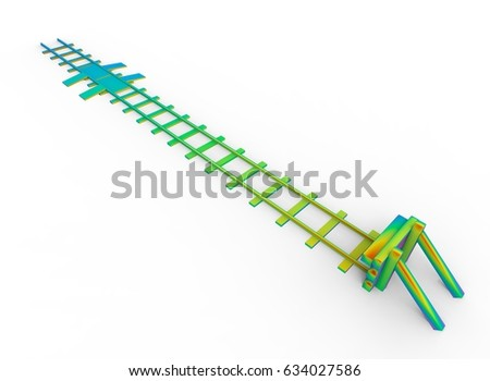 3d illustration of rainbow colored railway bumper. white background isolated. icon for game web.