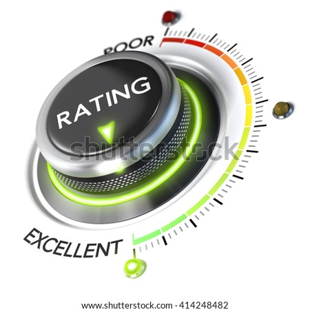 3D illustration of rating button pointing to the highest level, white background and green light. Concept of excellent customer experience. - stock photo