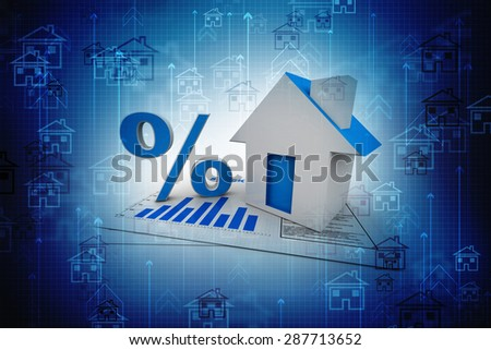 3D illustration of real estate. House and percentage sign