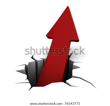 3d illustration of red arrow and hole in white background