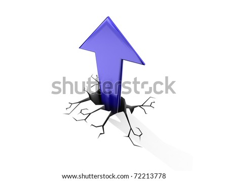 3D illustration of red arrow shooting up and breaking through a white floor. - stock photo