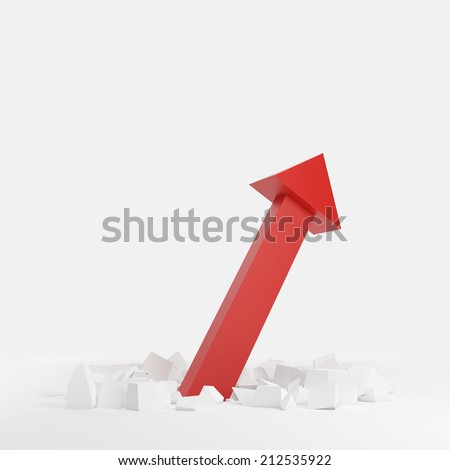 3D illustration of red arrow shooting up and breaking through a white floor. A concept of financial growth. - stock photo