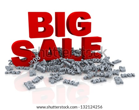 3d illustration of red big sale word and heap of different percentage