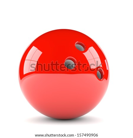 3D illustration of  red bowling ball isolated on white background - stock photo