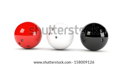 3D illustration of 3 red bowling balls in red white and black - stock photo