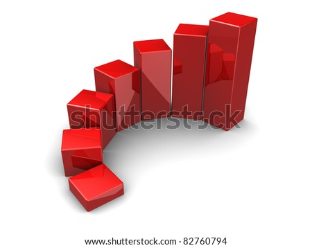 3d illustration of red business charts, over white background - stock photo