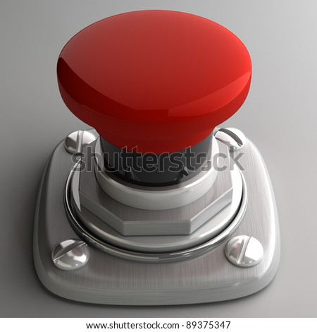 3d illustration of red button closeup. High resolution. 3D image