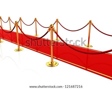 3d illustration of red carpet - stock photo