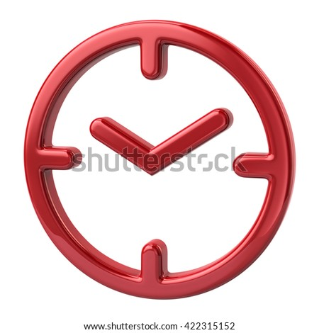 3d illustration of red clock icon on white background - stock photo