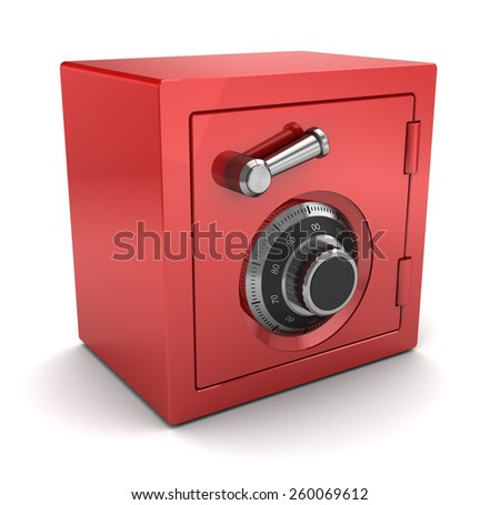 3d illustration of red color safe over white background - stock photo
