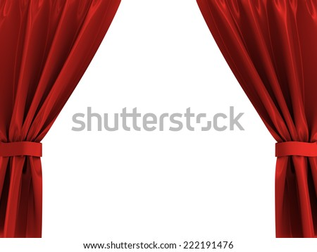 3d illustration of red curtains frame isolated over white - stock photo